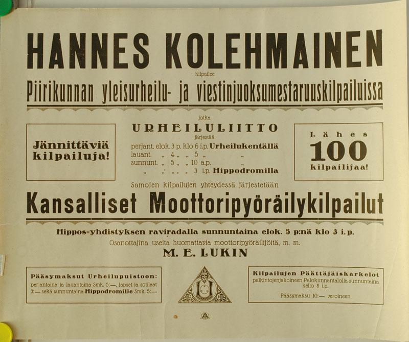 Urheiluliiton kisojen mainosjuliste 1920-luvulta.