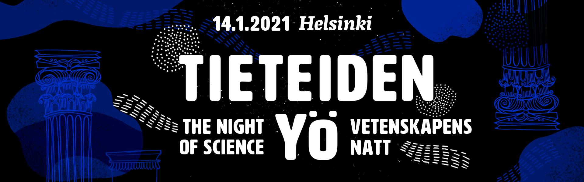 Tieteiden yön visuaalisista elementeistä koottu banneri.